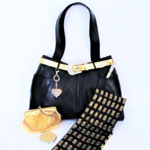 Leather Bag Upcycled Jeans Gold Lame Accessories L